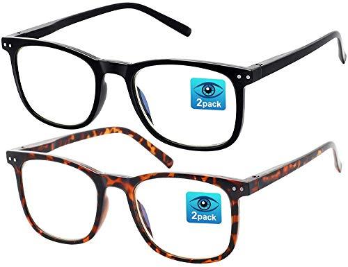 Brille Blaulichtfilter Brille Damen und Herren - Brille Blaulichtfilter Ohne Sehstärke, Gaming Blaulichtfilter Brille Kinder, UV Brille PC Gamer Brille, Bestes Geschenk Moderne Brille Damen, 2 Stück