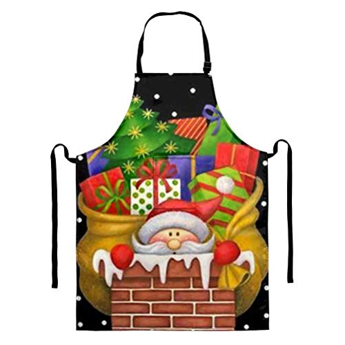 GOSTONG Santa Aprons for Women Home Kitchen Apron Unisex Apron Men Dining Cooking Aprons Clearance Gardening Aprons Pocket Adult BBQ Aprons Dress Cleaning Party Gifts