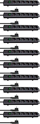10-fach Sparset - Brennenstuhl Comfort-Line Plus, Steckdosenleiste 6-fach (mit Flachstecker, Schalter, 2m Kabel und extra breite Abstände der Steckdosen) Farbe: schwarz