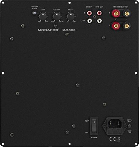 MONACOR SAM-500D Subwoofer Aktiv-Modul mit 500 W und variablem Tiefpass, Tieftöner mit High-Level Eingängen, integrierter Bassanhebung und sehr hohen Leistungsreserven, in Schwarz 32.0800