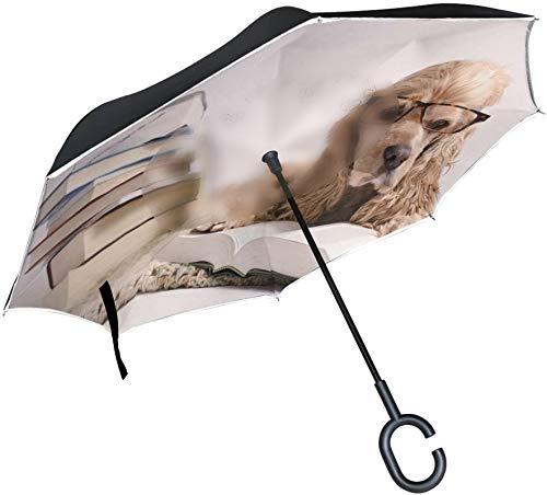 Bonito paraguas invertido con libro para perros Spaniel,mango en forma de C,a prueba de viento,a prueba de rayos UV,para viajes al aire libre,paraguas reversible para coche