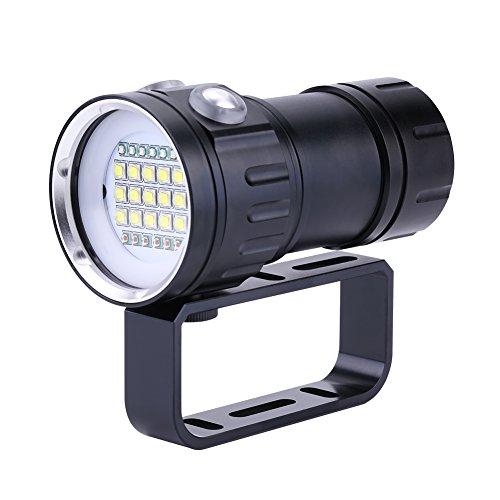 Garsent Linterna subacuática de Buceo Profesional, PX8 18000lm 500M Linterna lámpara Impermeable para fotografía subacuática 3 Colores - 7 Modos - 80 Metros Impermeable - 400 Metros Rango de luz