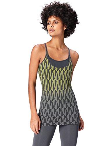 Activewear Top Estampado de Deporte con Sujetador Mujer , Gris (Grey/citrine), 42 (Talla del fabricante: Large)