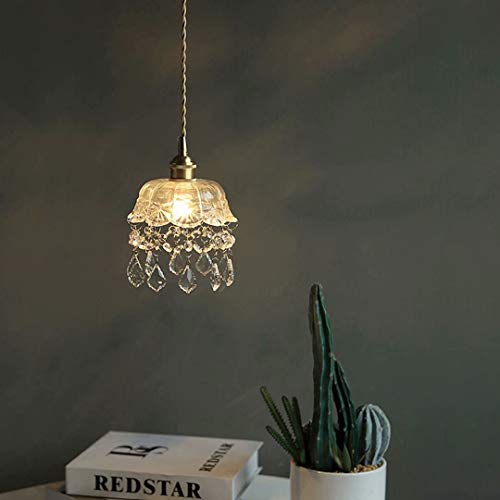 Lámpara de araña de cristal de estilo japonés,lámpara colgante de cristal transparente, iluminación de techo,comedor,luminaria con colgante de gota,con bombilla de luz cálida E27,cable de 200cm
