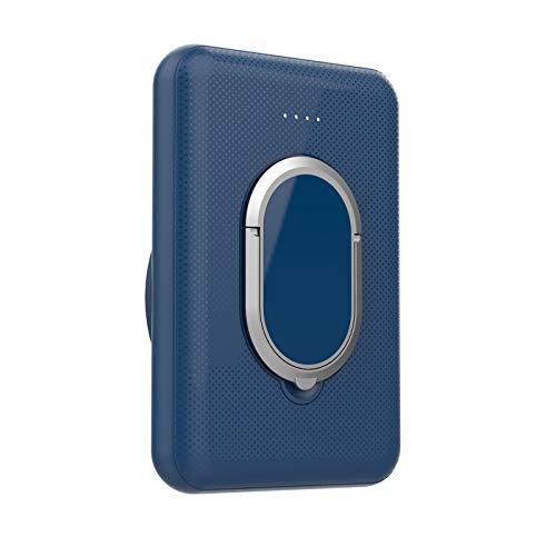 Batería Externa Inalambrica, Cargador Portátil, Power Bank Wireless Magnético 5000mAh, Charger Inalámbrica Qi 5W Tipo C Compatible con Mag-Safe iPhone 12 Pro Max Mini (Azul-con soporte)