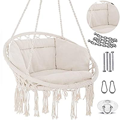 NOOKSTA Hammock Chair -Ultimate Comfort Hanging Chairs for bedrooms Set- Hanging Chair, Deluxe Cushion for Macrame Swinging Chairs & Hanging kit. Boho Decor Perfect for Outdoor Chair or Bedroom Swing