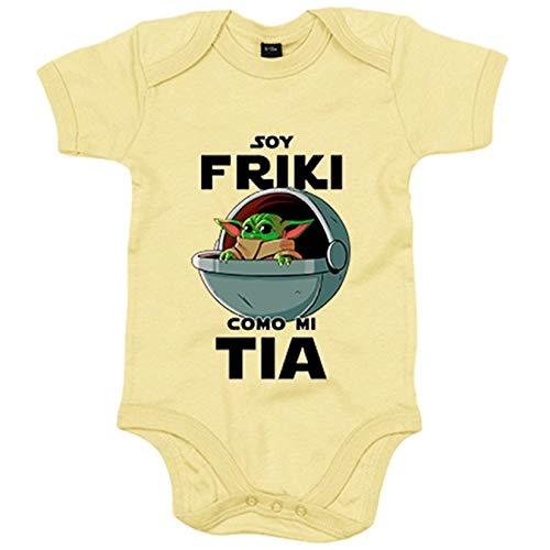 Body bebé soy friki como mi tia ilustración baby yoda - Amarillo, 6-12 meses