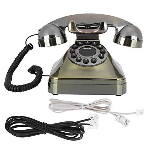 Teléfono Vintage, teléfono Fijo de Bronce Antiguo con Llam