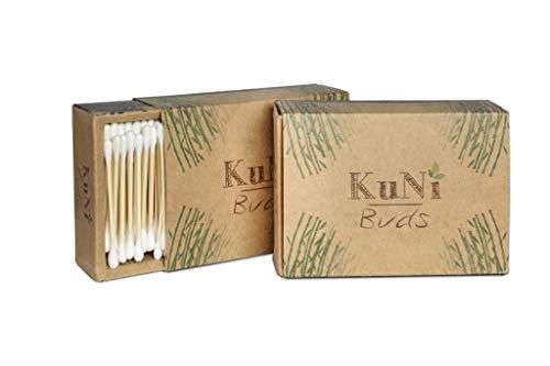 KuNi Buds | Bambus und Baumwolle Wattestäbchen | 2er Pack Bambuswattestäbchen (400 Stück) | 100% biologisch abbaubar, nachhaltig & vegan | kompostierbar | plastikfrei | umweltfreundlich