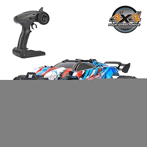 Auto Telecomando, 1:18 2,4 GHz a Quattro Ruote motrici ad Alta velocità, Modello di Auto Giocattolo RC per Bambini Kids RC Car Toy Full Function(Blu)
