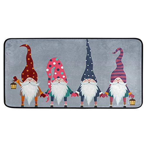 Kitchen Rugs Gnomes Friends Christmas Design Non-Slip Soft Kitchen Mats Bath Rug Runner Doormats Carpet for Home Decor, 39' X 20'