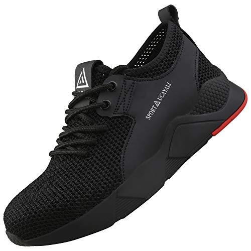 UCAYALI Zapatos de Seguridad Hombre Trabajo Ligeros Antiestaticos ESD Flexibles Calzados de Proteccion Safetoe Comodos Ligeras Zapatillas de Seguridad de Trabajo Anti Deslizante(025 Negro, 48 EU/290)
