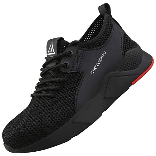 UCAYALI Zapatos de Seguridad Hombre Trabajo Ligeros Antiestaticos ESD Flexibles Calzados de Proteccion Safetoe Comodos Ligeras Zapatillas de Seguridad de Trabajo Anti Deslizante(025 Negro, 45 EU/275)