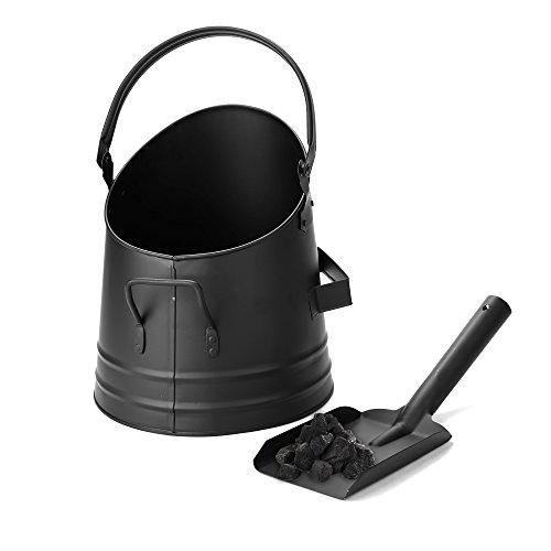 Mind Reader MASH-BLK Large Fire Place Ash Bucket, Pellet Bucket with Shovel, Black,Small