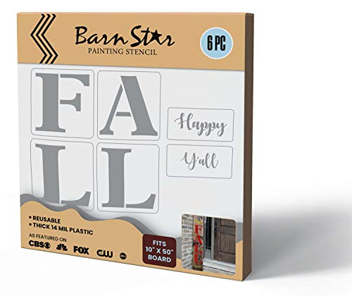 DIY Happy Fall Y'all Stencils Kit Farmhouse Sign Art for Painting Wood, Windows, or Craft Projects, Decorative Holiday Autumn Theme, Reusable