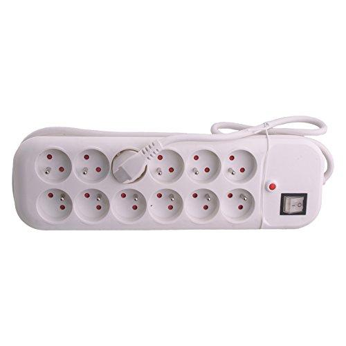 Exin 54.402.30 - Regleta con interruptor y 12 enchufes, 1,5 m, color blanco