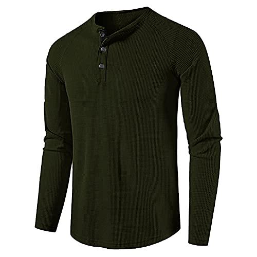 Modaworld Maglie a Manica Lunga da Uomo, con Collo Grandad T-Shirt Henley,con Bottoni, Scollo a V, vestibilità Slim Fit,Tinta Unita Primavera Autunno Casual Top (Army Green, XL)