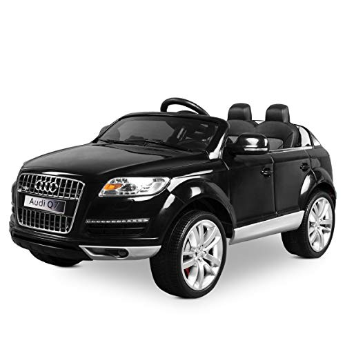 Playkin AUDI Q7 NEGRO - Coche de bateria 12V niños 3-8 años mando control remoto 2.4G RC juguetes infantiles coches de bateria