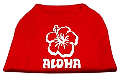 Mirage Aloha Bloem Scherm Print Shirt, Small, Rood