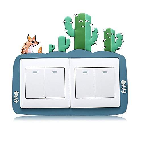 YUELANG Cactus De Dibujos Animados 3D De Encendido Y Apagado De Luz Doble Pegatinas Niños del Interruptor del Enchufe De Pared Pegatinas De Habitaciones La Decoración del Hogar (Color : B)