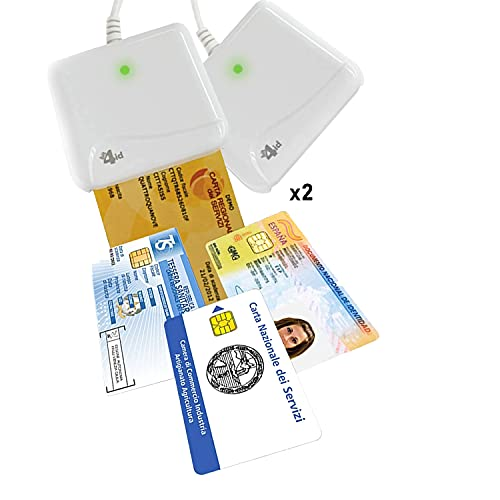 2X Bit4id ORIGINALE Minilector evo 2.0 RFID,2 pezzi Lettore di Smart Card Readers, Firma digitale SPID e CRS CNS, Tessera sanitaria Carta,CAC Dod,Plug&Play,no driver,supporta Common Criteria e FIPS
