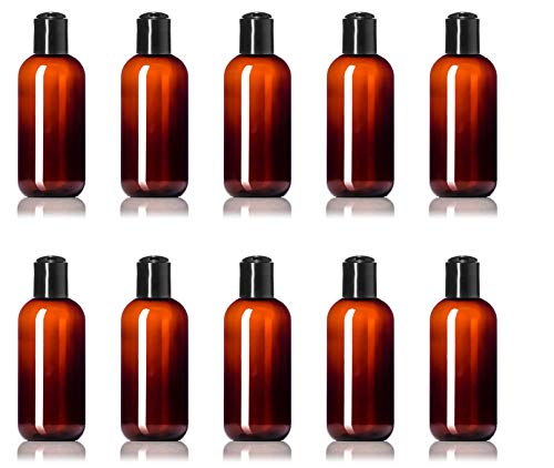 24 Pack 8 Ounce Plastic Bottles Amber with Disc Caps - Made in USA Reusable PET Squeeze Containers for Lotions, Soap & Cosmetics - BPA-Free - 24 Pc Value Pack (8 oz, Amber)