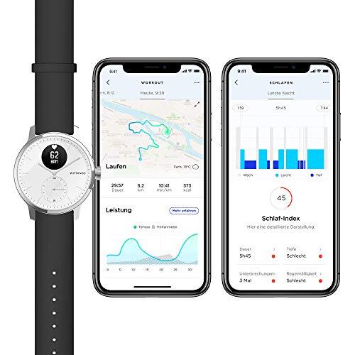 Withings Unisex-Adult Scanwatch 42mm White Hybrid Smartwatch mit EKG, Herzfrequenzsensor und Oximeter, weiß - 6