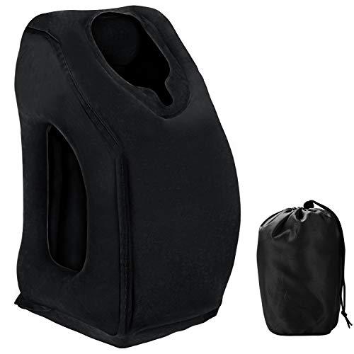 Saibit Aufblasbares Reisekissen, ergonomisches bequemes und tragbares Schlafkissen für Flugzeuge und Züge, Reisen, Büro, Camping usw. (schwarz)