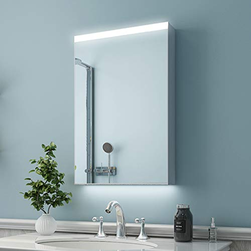ES-DIY 20 x 30 Inch LED Lighted Bathroom Medicine Cabinet with Mirror, Aluminum Wall Storage Organizer 3 Layer Mirror Cabinet with Adjustable Glass Shelves, Surface Mounting