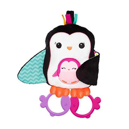 Bright Starts Spielzeug zum Anbringen an den Kinderwagen, Pinguin, quietscht beim Drücken, 2 Beißringe in Fischform, Flügel aus Knittermaterial zur Anregung des Hörsinns