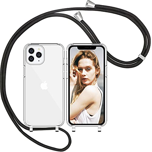 Nupcknn Funda con Cuerda para iPhone 11 Pro,Anti-Choque Anti-arañazos Carcasa Silicona Case con Correa Colgante Colgante movil Ajustable Case(Transparent)
