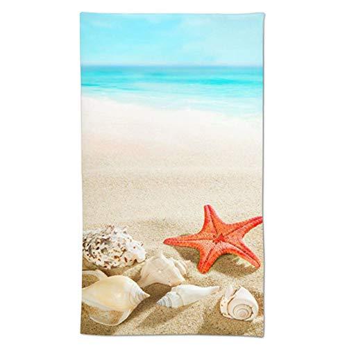 Starfish Beach Sea Hand Towel, Summer Ocean Soft Towels Decorative for Kitchen Room Bath Hotel Gym Yoga Spa Housewarming Gifts 27.5' X 15.7'