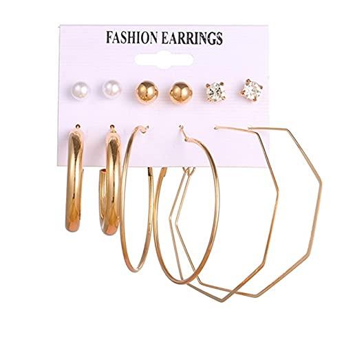 FEARRIN Pendientes de declaración de Moda Conjunto de Pendientes Bohemios para Mujer Perla de Moda Borla Pendiente Redondo geométrico Joyería Femenina H8-1057-6