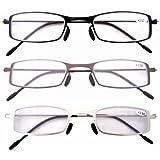 Eyekepper 3 Paia Occhiali da Lettura Montatura in Metallo Resistente per Uomo Donna Occhiali Presbite Acciaio Leggero Colori Misti Diottria +1.50