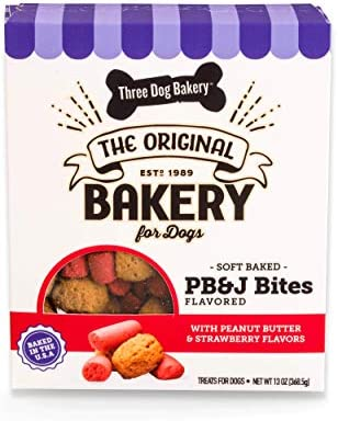 Three Dog Bakery Soft Baked PB J Bites Peanut Butter Strawberry Flavor Premium Treats for Dogs product image
