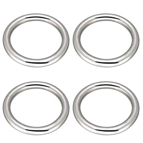 """Abimars 3"""" Seamless Welding O-Ring 304 Stainless Steel Rings Multi-Purpose Metal O Ring for Macrame, Camping Belt, Dog Leashes, Light Saber Accessories, Luggage Belt, Handbag - 4 Pack"""