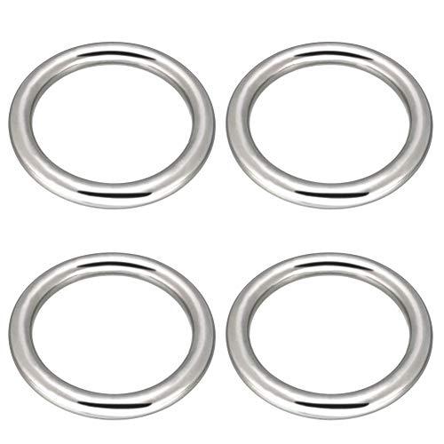 O-Ring per saldatura senza giunte da 3'' in acciaio inox 304 Abimars, anello in metallo multiuso per macramè, cintura da campeggio, accessori a sciabola, cintura per bagagli, borsa – 4 pcs