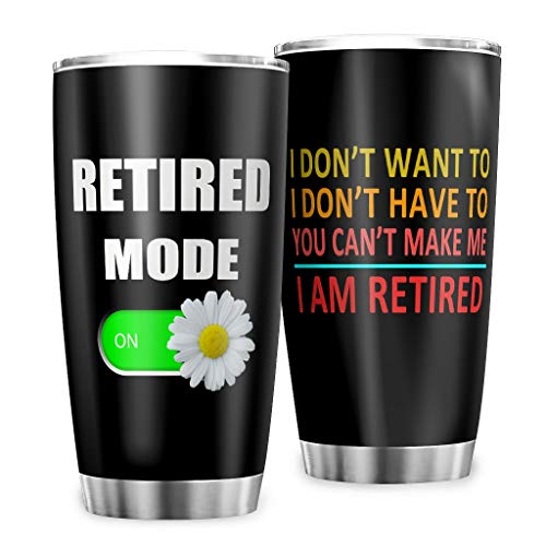 Travel Mug Retired Mode On Daisy Double-Walled Fun Gifts Coffee Cup with Lid for Hot Drinks White 600 ml