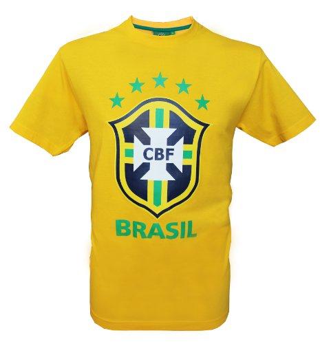 Equipe du BRESIL de football T-Shirt più Spesso Brasil–Collection Officielle Taglia da Uomo, Uomo, Yellow - Yellow, S