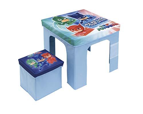 ARDITEX les pyjamasques Conjunto Mesa Plegable y reposapiés Cubo de cartón para almacenaje, PP/, Azul, 50x 50x 40cm