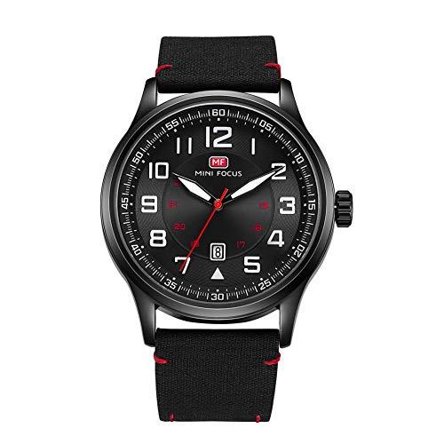 Men's Watches Black/Green Face Big Number Design Easy to Read Minimalist Waterproof Wrist Watch (Black01)