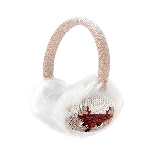 Frauen Mädchen Winter Mode Einstellbare Kunstpelz Ohrenschützer Cartoon Ohrenwärmer (Beige)