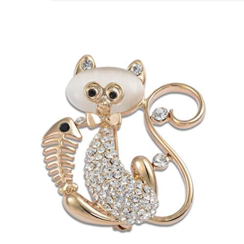 ZorYer Broches Broche de Diamantes de imitación de Oro Rosa Broches de Gato Encantador Pin Up para Mujer Vestido de Novia 3.7X4.3CM