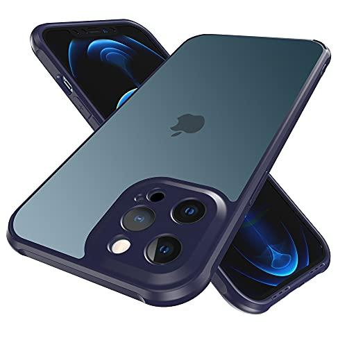 Funda a prueba de golpes para iPhone12/12 Pro compatible con MagSafe Charging, actualización antideslizante mate duro trasera suave TPU parachoques 5G teléfono caso cubierta (azul)