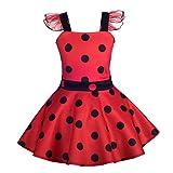 Lito Angels Vestido de Ladybug para Niña Pequeños Disfraz de Mariquita de Halloween Fiesta de Cumpleaños Carnaval Festival Falda de Lunares Rojo Talla 5 a 6 Años