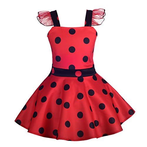 Lito Angels Deguisement Ladybug Coccinelle Enfant Fille, Robe Rouge à Pois Anniversaire Fete Carnaval, Taille 4-5 ans