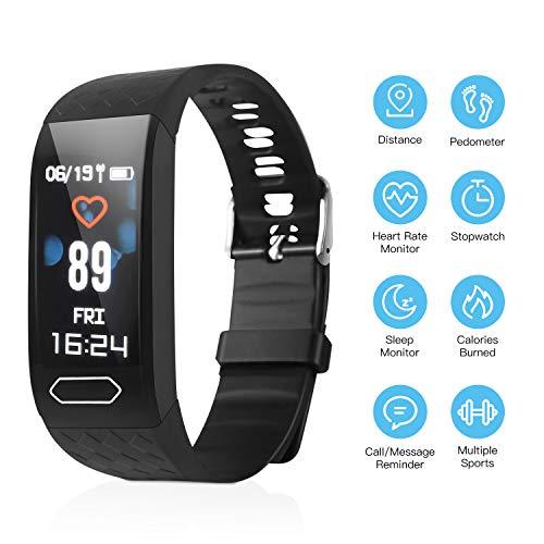 ESOLOM Fitness-Tracker, Smartwatch wasserdichtes IP67-Fitness-Armband mit Herzfrequenzmesser Farbbildschirm Aktivitäts-Tracker Schrittzähleruhr Smart Watch für Kinder Frauen Männer (Black 0.96inch)