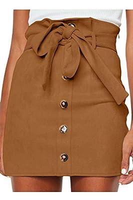 Meyeeka Faux Suede Clubwear for Women Retro High Waist Button Front Stretch Belted Mini Skirt Khaki