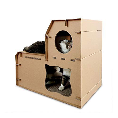 GIBOLEA 爪とぎ 猫 ハウス 猫 つめとぎ 猫 タワー 多機能 通気 段ボールハウス ストレス解消 二階建ての猫の家多頭飼い 二階 幅60cm 奥行41cm 高さ54cm