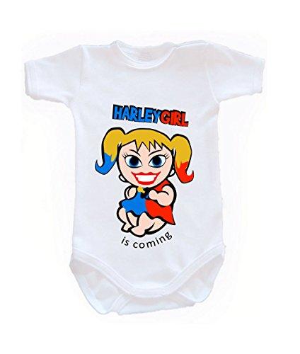 Couleur Mode bébé Harley Quinn bodies à manches courtes 100% coton Petit bébé – 24 mois – 0007 blanc tiny baby, 52 cm